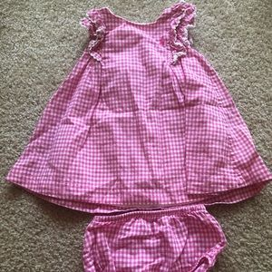 Ralph Lauren pink plaid baby dress and bloomers